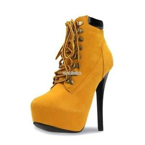 e38ed89d1355 Womens Lace Up High Heel Ankle Boot Booties Stiletto Platform Almond ...