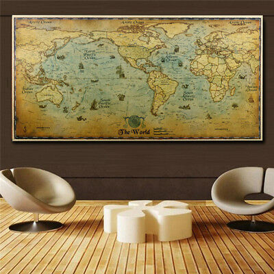 Home Decor The Old World Map Large Vintage Style Retro Paper Poster 72*36cm