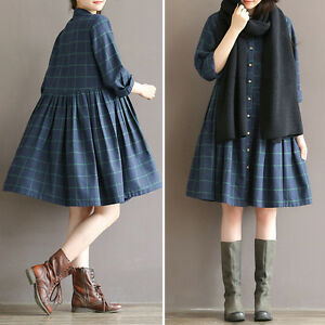 Stylish-Women-Checks-Plaids-Maxi-Loose-Cotton-Linen-Casual-Tunic-A-Line-Dress
