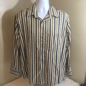 Vtg-OshKosh-B-039-Gosh-Mens-Long-Sleeve-Flannel-Large-USA-Made-Brown-Gray-Stripe-FS