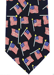 b0d0ef57e80 American Flag Poles Mens Necktie 4th July Holiday Patriotic Gift ...