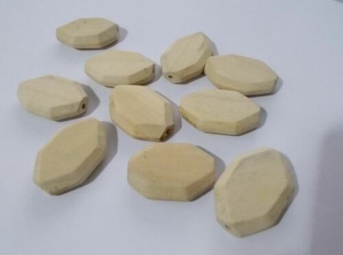 20 x 35mm LARGE FLAT FACETED OVAL Wooden Pendant Beads Natural Unpainted A07