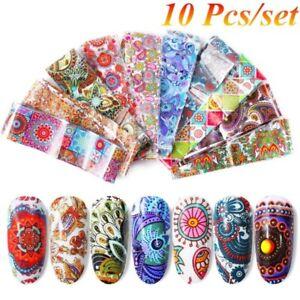 10Pcs-set-4-20cm-Nail-Foil-Transfer-Sticker-Cartoon-Painting-Decal-Mixed-Design