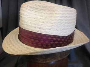fab15857 De Pere Park Mens White Milan Straw Fedora Hat -Size 7 with 2 ...