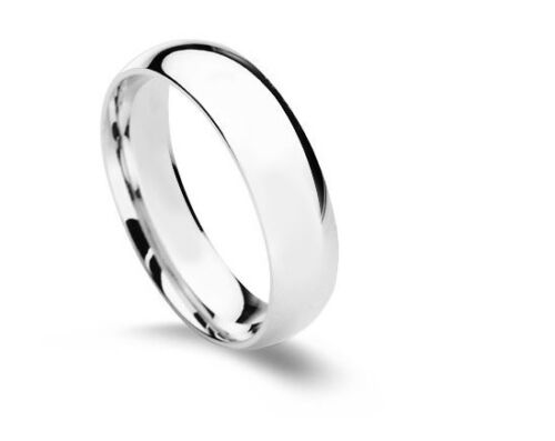 Wedding Band 10K White Gold Solid Men Women 3mm 4mm 5mm 6mm NOT plated