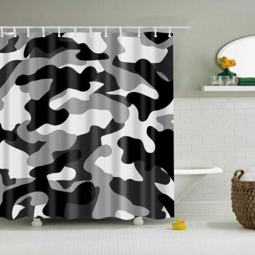 Black Camouflage Polyester Waterproof Bathroom Fabric Shower Curtain 12 Hook