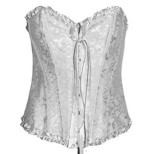 WHITE-EMBOSSED-BASQUE-CORSET-SIZE-6-16-FANCY-DRESS-BURLESQUE-ALTERNATIVE-GOTH