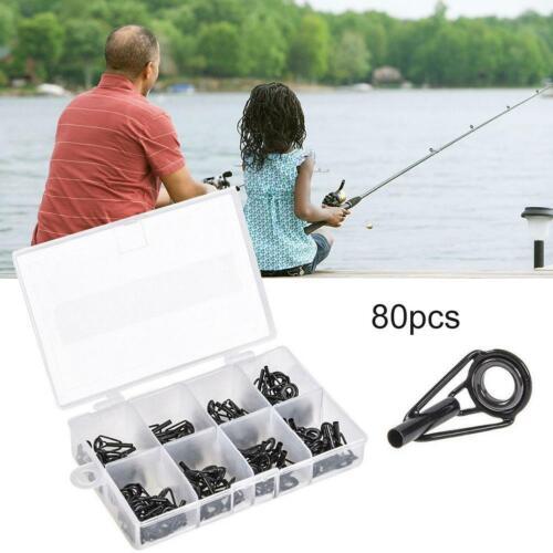 80Pcs//Set Sea Fishing Rod Pole Guide Tip Top Ring Eye Repair Stainless Steel