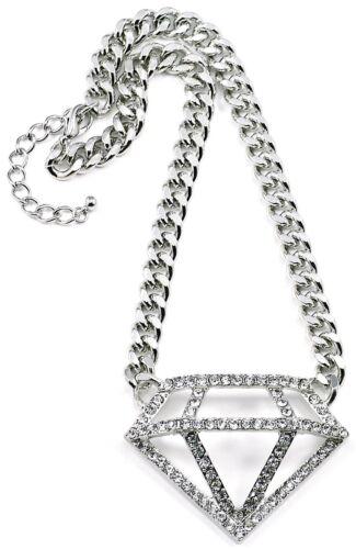 Nuevo collar de diamantes de imitación colgante con cadena 10mm de eslabón cubano de 16.5 pulgadas