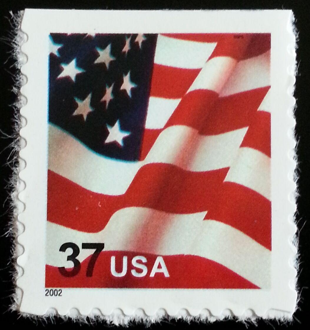 2002 37c American Flag, SA Scott 3635 Mint F/VF NH