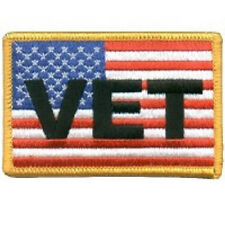 US FLAG WITH VETERAN SERVICE MILITARY EMBROIDERED IRON ON BIKER PATCH