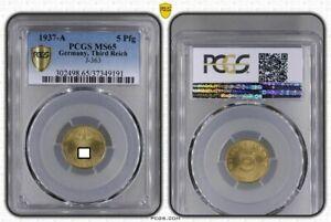 Third Reich 5 Pfennig 1937 A Fresh Mint Condition PCGS MS65 (36779)