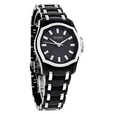 WITTNAUER 12P105 WOMEN'S 26 REAL DIAMONDS SWISS DRESS S/S BLACK ANALOG WATCH