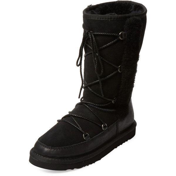 NIB Womens Girls Atwell Black Suede Sheep Fur Lined Shearling Boots Sz 5   EU 35