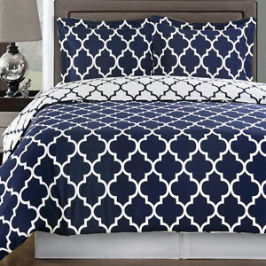 Duvet Cover Set 100 Cotton Moroccan Quatrefoil Trellis Navy Blue