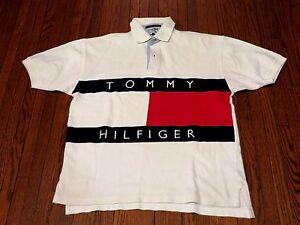 Men S Vtg 90 S Tommy Hilfiger Big Logo Flag White Polo Shirt Sz M Ebay