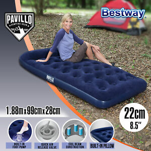 [10%OFF] Bestway Single Air Bed Inflatable Mattress Built-in Foot Pump Pillow