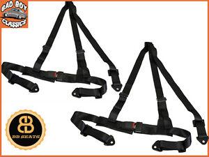 3 point black fully adjustable car seat belt harness universal design x2 ebay. Black Bedroom Furniture Sets. Home Design Ideas