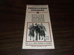 NOVEMBER-1943-PRR-PENNSYLVANIA-RAILROAD-FORM-79-NEW-YORK-TO-WASHINGTON