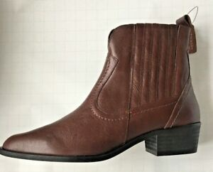 d6447a73238 Details about NEW LOOK Premium Leather Ladies Western Ankle Boots - Brown -  Brand New
