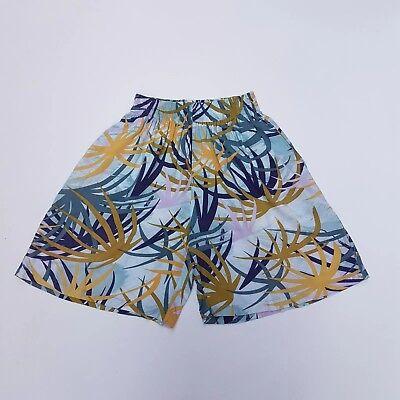 Pantaloncini Vintage 80s Taglio Lungo Vita Alta Aqua Pittoriche Foglie Di Palma   8   10-mostra Il Titolo Originale