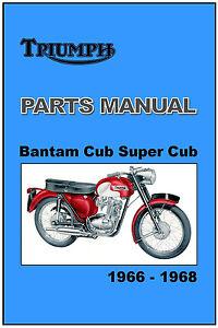 Details about TRIUMPH Parts Manual T20 T20B Bantam Super Tiger Cub 1966  1967 1968 Spares List