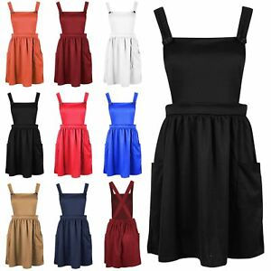 Womens-Ladies-Dungarees-Pinafore-Cross-Back-Strappy-Skater-Flared-Dress-Playsuit