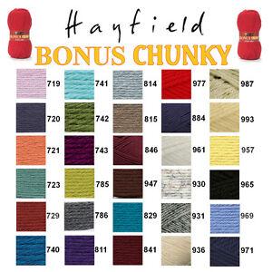Hayfield-by-Sirdar-Bonus-Chunky-100g-Knitting-Wool-Yarn-ALL-COLOURS