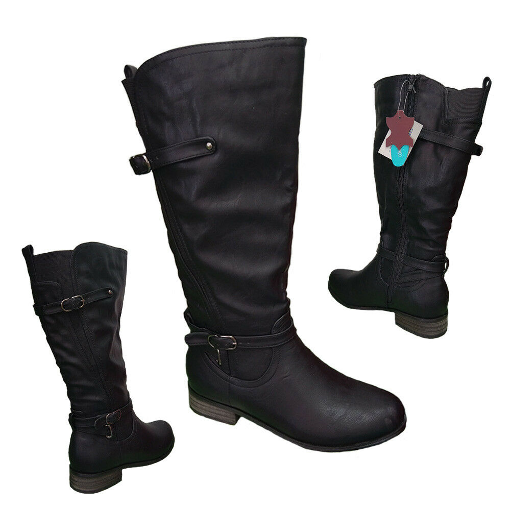 Ladies Shoes Boots Step On Air Curve Black Wide Leg Boot Zip Elastic Side 5-10