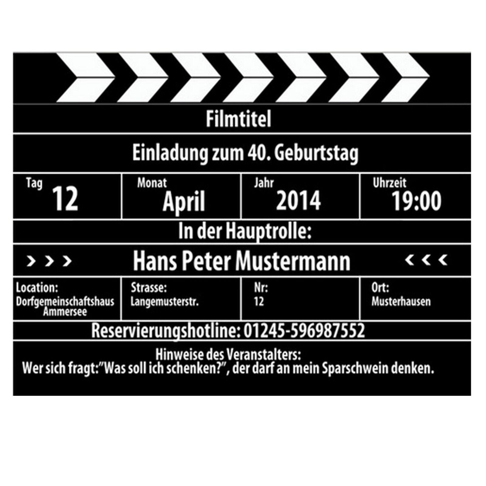 Filmklappe als Einladung Einladungskarten Geburtstag Geburtstagseinladung witzig     Stil    Ermäßigung