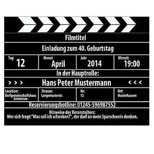 Das Bild Wird Geladen Lustige Einladungskarten  Zum Geburtstag Als Kinoklappe Film Kino