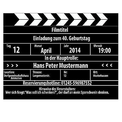 Lustige Einladungskarten zum Geburtstag als Kinoklappe Film Kino 30 40 50