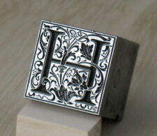 Vintage Letterpress Printers Metal Type Block Ornamental Letter H Square 1316