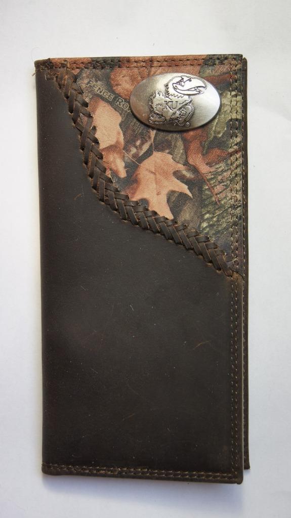 ZEP-PRO Kansas Jayhawks Fence Row Camo Leather Roper Wallet BURLAP Gift Bag