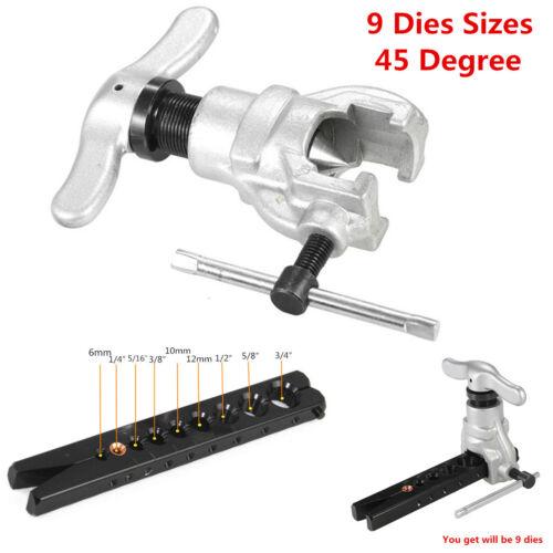 Non Ratchet Eccentric Flaring Tool Set 9 Dies Size 45 Degree Eccentric Cone Type