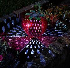 Solar Powered Funky Strawberry Hanging Lantern Fruit Metal Garden Lights Decor