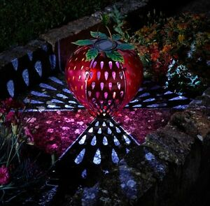 Image Is Loading Solar Powered Funky Strawberry Hanging Lantern Fruit Metal