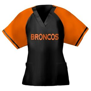 finest selection 9c8dd ce6a5 Details about Scrubs Scrub Top Unisex NFL Denver Broncos Orange Navy  Replica Jersey NEW
