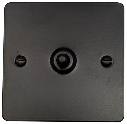 G/&H FFB281 Flat Plate Matt Black 1 Gang 1 or 2 Way Toggle Light Switch
