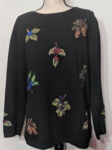 Coldwater-Creek-Women-039-s-Black-Wool-Blend-Leaf-Embroidered-Pullover-Sweater-Sz-M