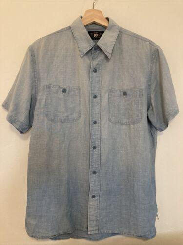 RRL Sullivan Chambray Short Sleeve Work Shirt Blue