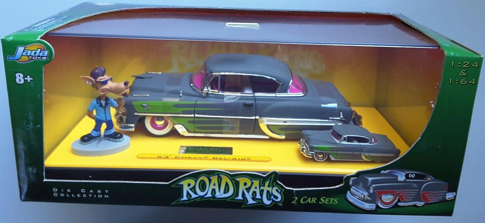 '53 Chevrolet Chevy Bel-air Diecast Wolf Figura carretera Ratas 2 Car Set 1 64 1 24
