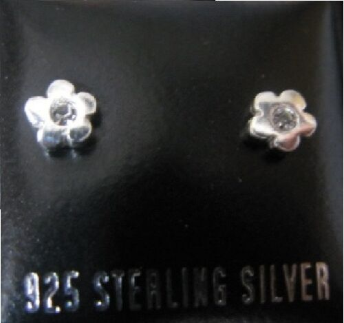 925 Silver SMALL /& DAINTY Flower Earrings with Clear Crystals Gift Boxed