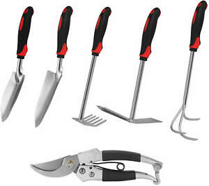 Garden tools set, 6 PCS Cast-iron Heavy Duty Gardening tools, with Non-Slip Rubb