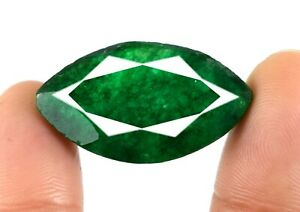 Marquise Colombian Emerald 27.85 Ct Natural Gemstone Certified V5003 US Seller