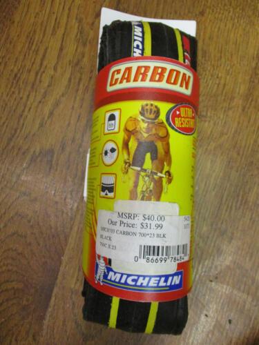NOS VINTAGE MICHELIN CARBON 700x23C CLINCHER FOLDABLE BLACK TIRE