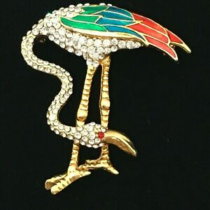 Vintage-Flamingo-Brooch-signed-D-039-Orlan-Crystal-Enamel-Figural-Bird-Pin-Gold-tone