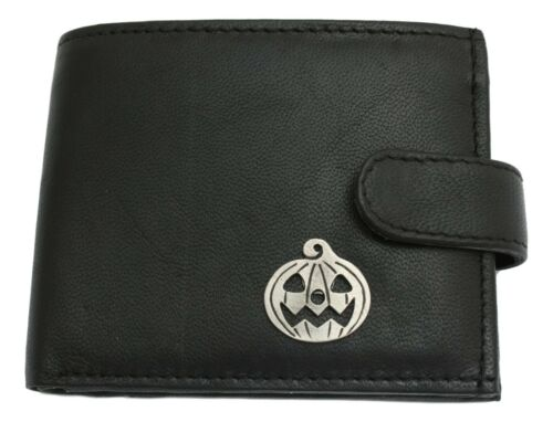 Pumpkin Leather Wallet BLACK Card Slots Mens Present Halloween Gift 410