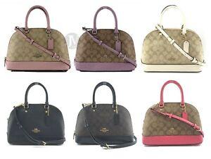 Coach-Coated-Canvas-Leather-Signature-Mini-Sierra-Satchel-Handbag-Bag