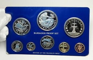 1975-BARBADOS-Neptune-Windmill-Fountain-8-Proof-Coin-Set-2-are-Silver-i76391